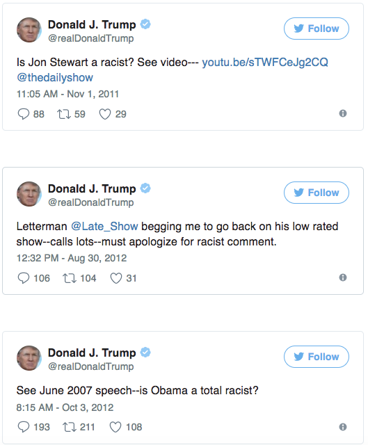 This will break your brain: 30 times Trump called other people racist on Twitter