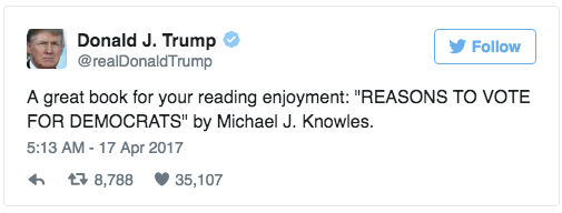Because nothing is funnier than Donald Trump recommending a book with blank pages