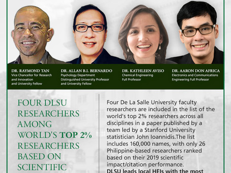 Four DLSU researchers among world's top 2% researchers based on scientific impact