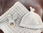 crochet blanket, hat and teether set_edi