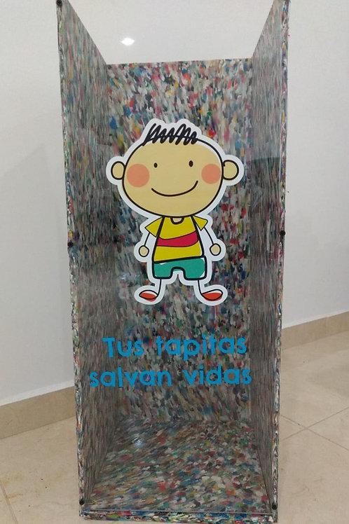 Contenedor artesanal de Tapitas Recicladas y PET