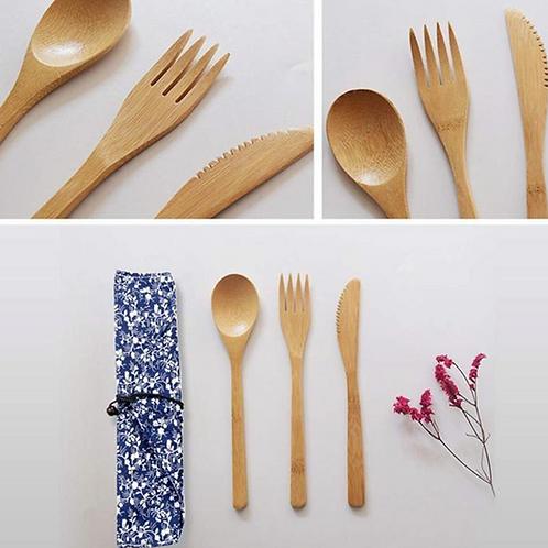 Juego de 3 Cubiertos Ecológicos Bambú Biodegradable