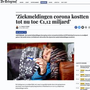Corona ziekmeldingen stijgen naar 1,12 miljard euro