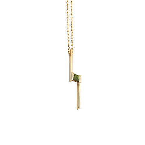 P.P.103 Silver Pendant with Tourmalines or Garnet in Silver Chain