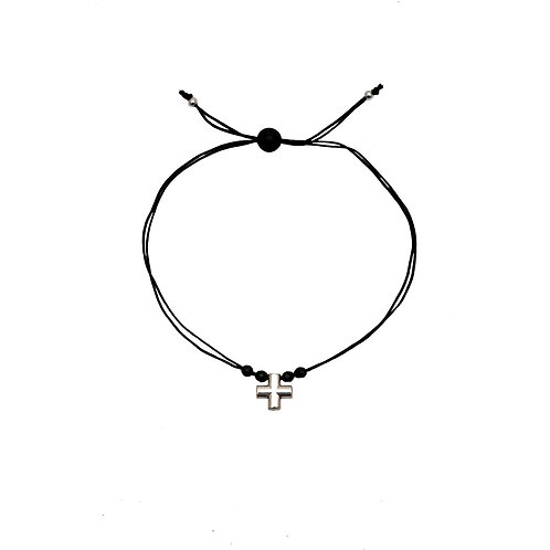 CR.B.102 Silver Bracelet in Cord with Black Jades