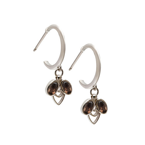 M.E.100 Silver Drop Earrings with Smoked Quartz or Pink Tourmaline