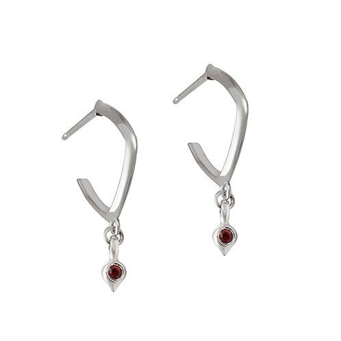 U.E.113 Silver Drop Earrings with Gemstones