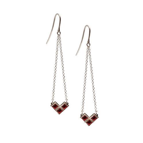 S.E.100 Silver Dangle Earrings with Gemstones