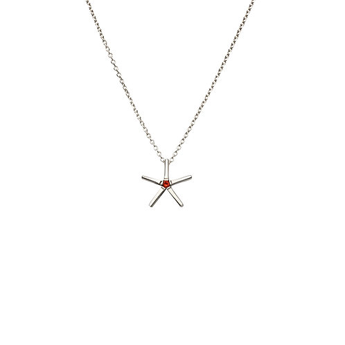 S.P.102 Silver Pendant with Red Garnet or Black Spinel in Silver Chain