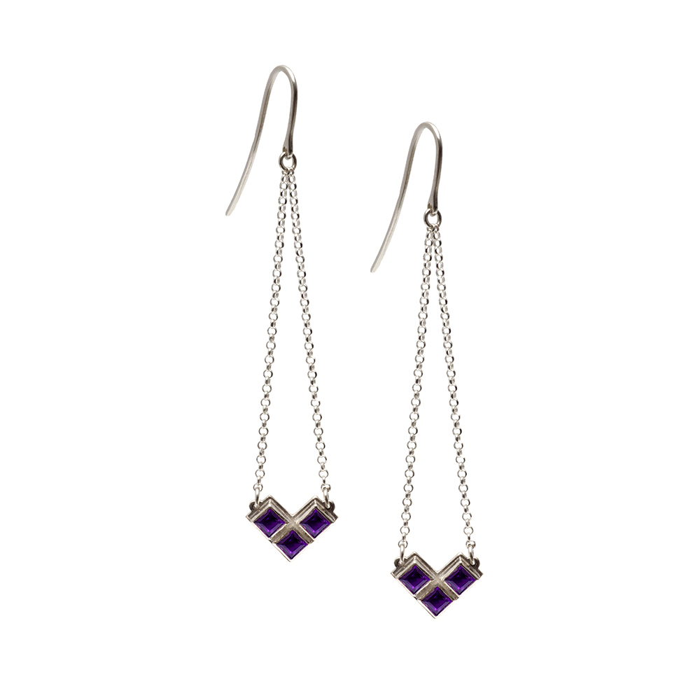 SE100 silver earrings amethyst