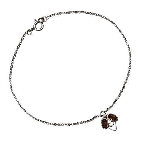 M.B.100 Silver Bracelet with Smoked Quartz or Pink Tourmaline