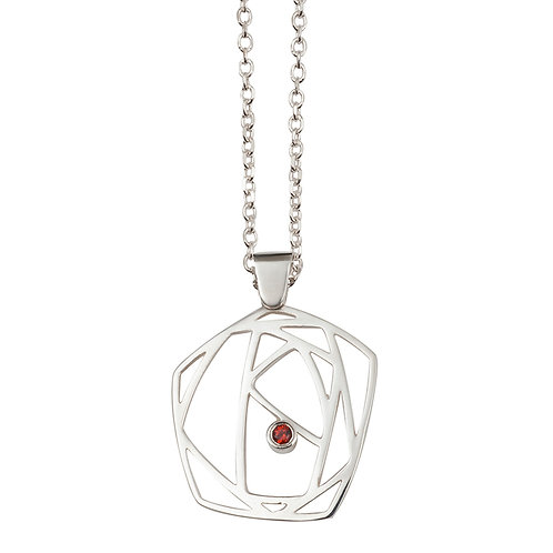 R.P.101 Silver Pendant with Red Garnet in Silver Chain