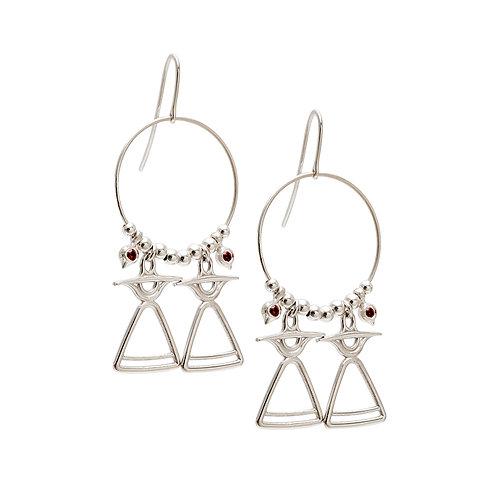 REV.E.101 Silver Dangle Earrings with Red Garnets