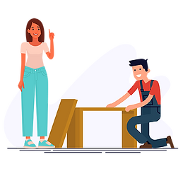 Woman with a contractor vector png