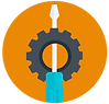 Gear And Screw Driver Icon on an Orange Background - Skilled Doers Tools Icon