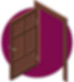 An Opened Brown House Door Icon