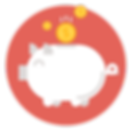 Piggy Bank With Falling Coins Icon - Save Money Icon