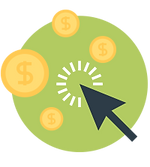 Black Pointer With Gold Coins on a Green Background - Pay per Click Icon
