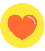 Orange Heart Icon on a Yellow Background