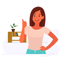 Happy woman raising her thumb vector png