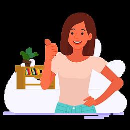 Happy woman raising her thumb vector png