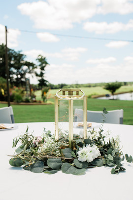 Simple Lanterns & Foliage Centerpieces
