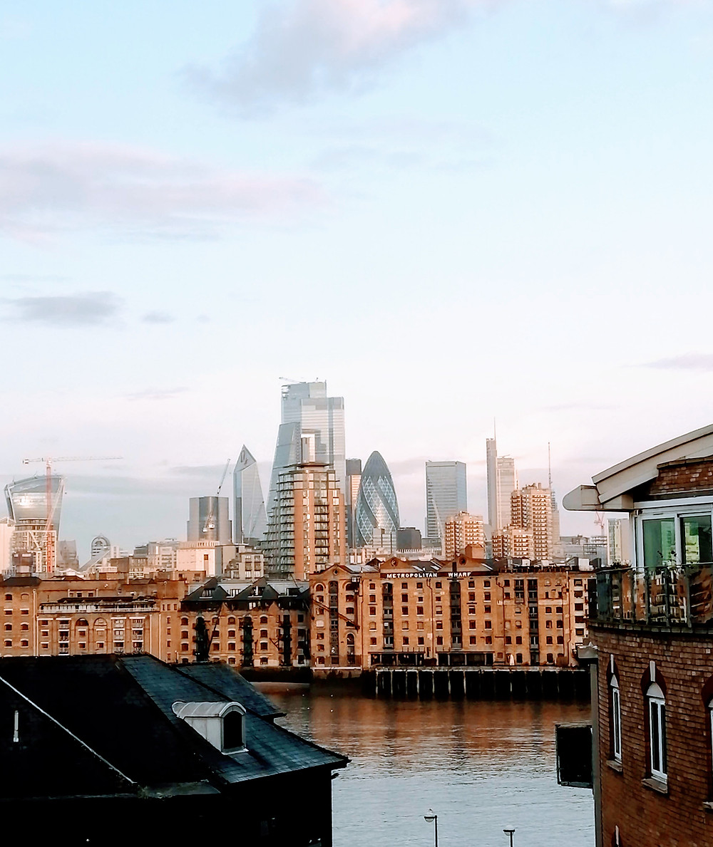 the London skyline from Canada Water
