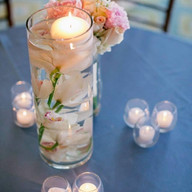 Bistro table centerpiece with floating candle