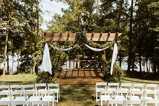 Wedding arbor by the lake I Old Homeplace Vineyard (Winston-Salem, NC)