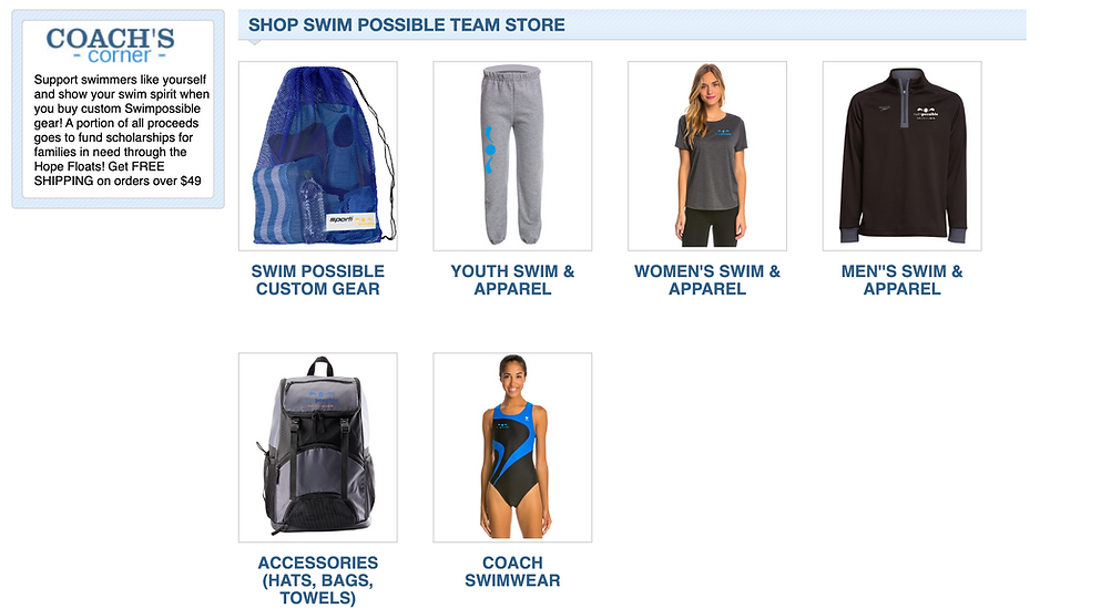 swimpossible merchandise for swimmers and family