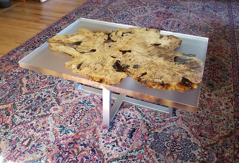 Clear Cast Buckeye Burl Coffee Table