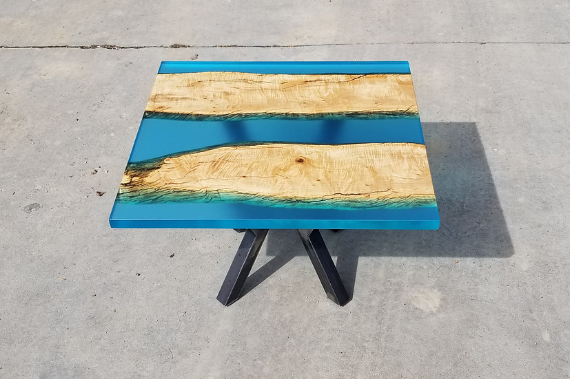 Flamed maple and blue coffee table