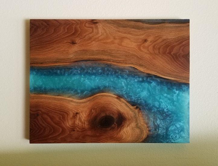 Black walnut and river rapids wall art