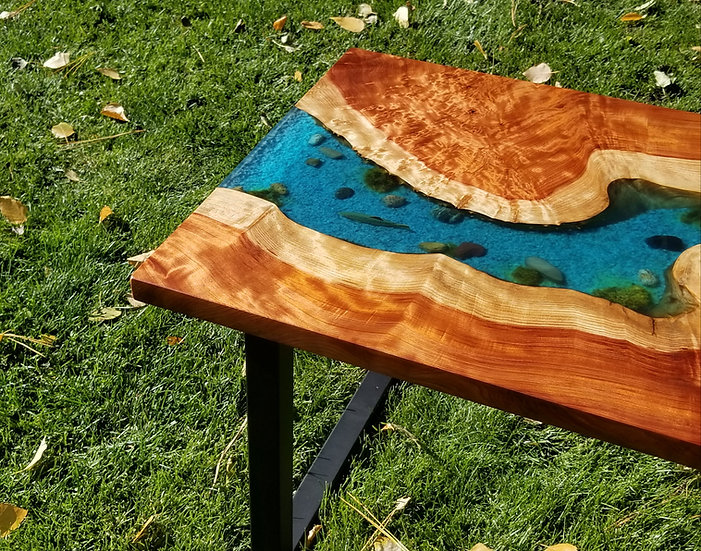 Redwood trout river coffee table
