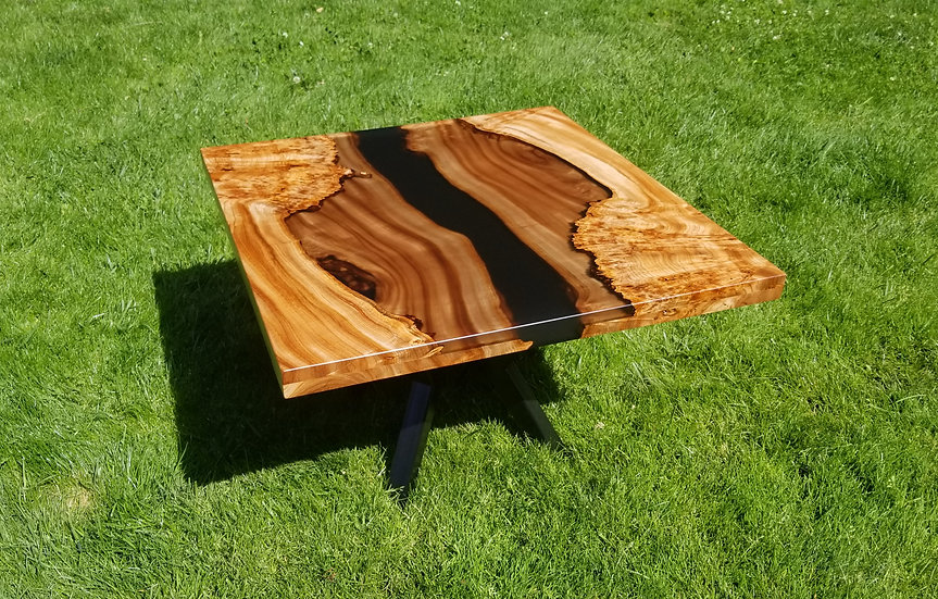 Layered Elm and black coffee table