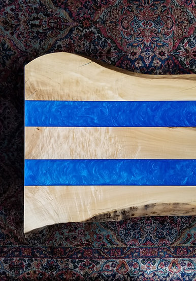 Flamed Maple and Metallic Blue Coffee Table