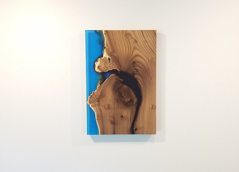 Live Edge Olive wood and Transparent Blue Epoxy Wall Mount
