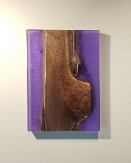 Black Walnut and Transparent Metallic Purple Wall Mount