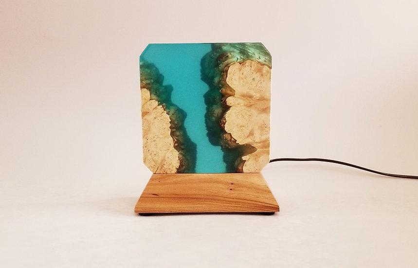 burled box elder and turquoise epoxy mood lamp