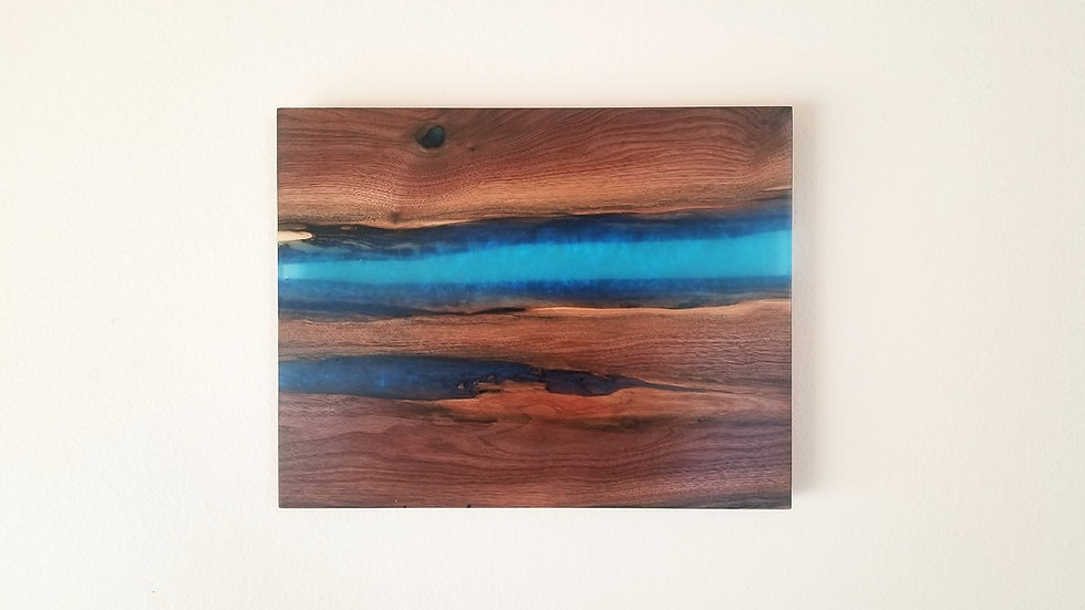 Walnut and metallic ocean blue wall mount