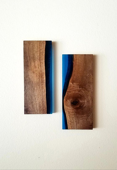 Walnut and Blue Segmented Wall Mount