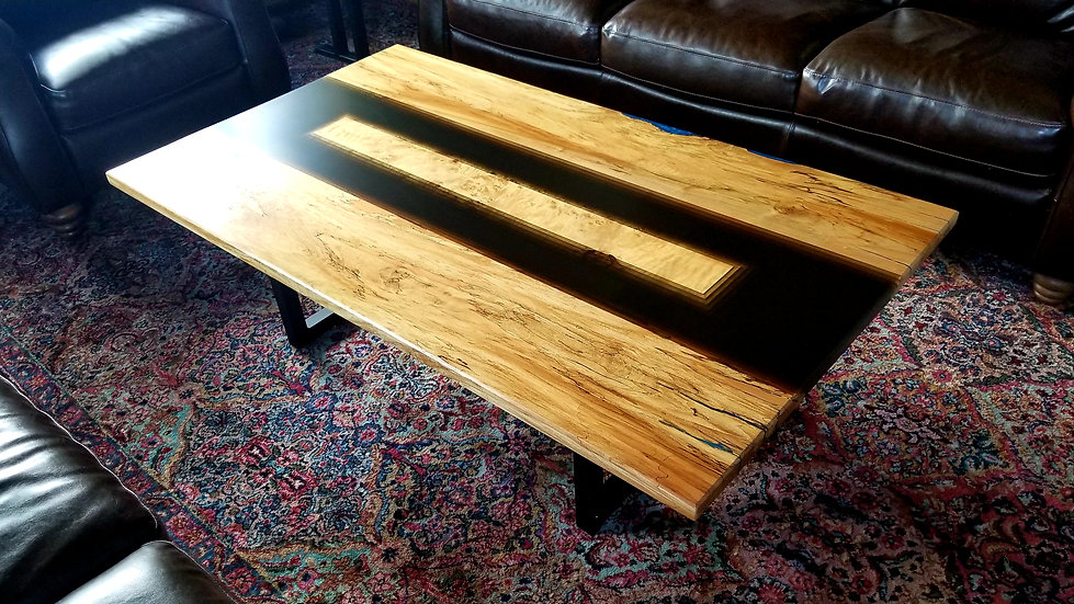 Spalted Maple and transparent black coffee table