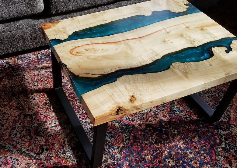 Burled box elder double river coffee table