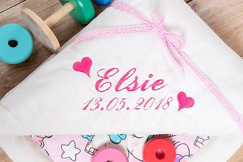 Pink unicorns baby blanket, gift for baby shower, baby gift, grey stars minky blanket, personalised gift, personalised blanke