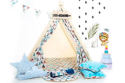 Teepee tent playhouse, Montessori toy, Christmas gift, birthday gift, garden playhouse, hideaway tent, kids tipi with play ma