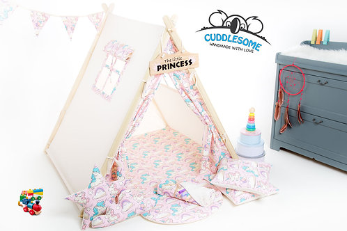 Pink unicorns teepee tent playhouse for kids, decorative cushions, The best birthday gift, kids teepee with playmat
