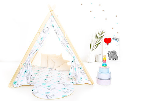 elephants teepee tent for children by Cuddleosme, kids teepee with play mat in the UK, wigwam room decoration, boys fort