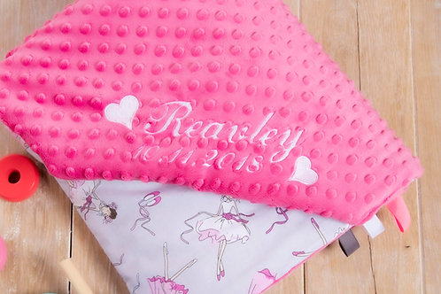 Little ballerina personalised baby blanket