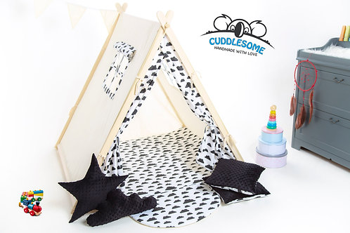 Back clouds teepee tent playhouse for kids, nursery decor, The best birthday gift, grey kids tipi tent, kids teepee with play