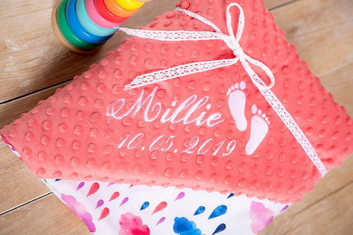 Clouds and rain personalised baby blanket, gift for baby shower, baby gift, pink minky blanket, personalised gift